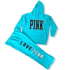 VS PINK Turquoise Blue Sweatsuit Set Bundle